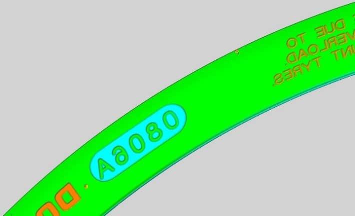 Farbige Höhendarstellung der Buchstabentiefe